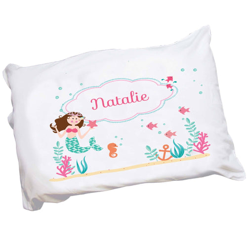 Personalized Brunette Mermaid Childrens Pillowcase