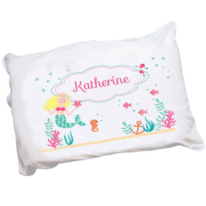 Personalized Childrens Blonde hair Mermaid Pillowcase