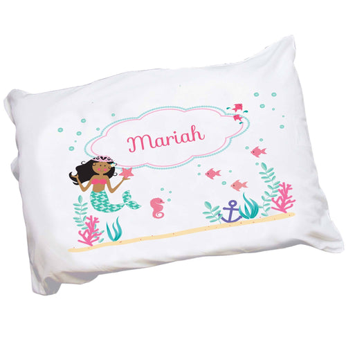 Personalized Childrens Pillowcase with African American Mermaid Princess design