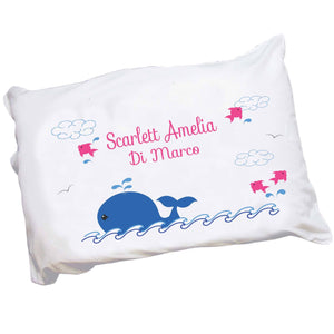 Personalized Childrens Pillowcase with Pink Whale design