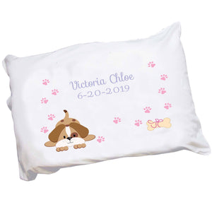 Personalized Childrens Pillowcase with Pink Puppy Dog