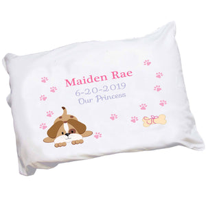 Personalized Pink Puppy Dog Pillowcase