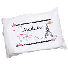 Personalized Childrens Pillowcase with French Paris design