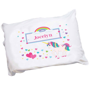 Girls Personalized Unicorn and rainbow Pillowcase