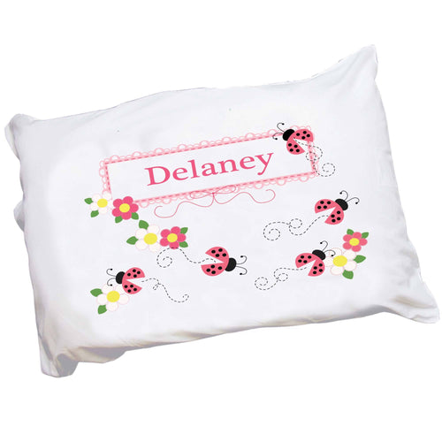Personalized Childrens Pink Ladybug Pillowcase