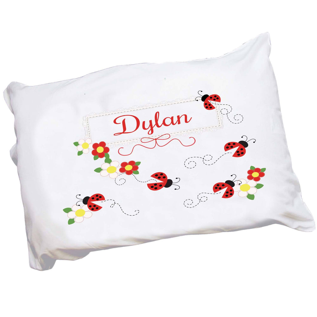 Personalized Childrens Red Ladybug Pillowcase