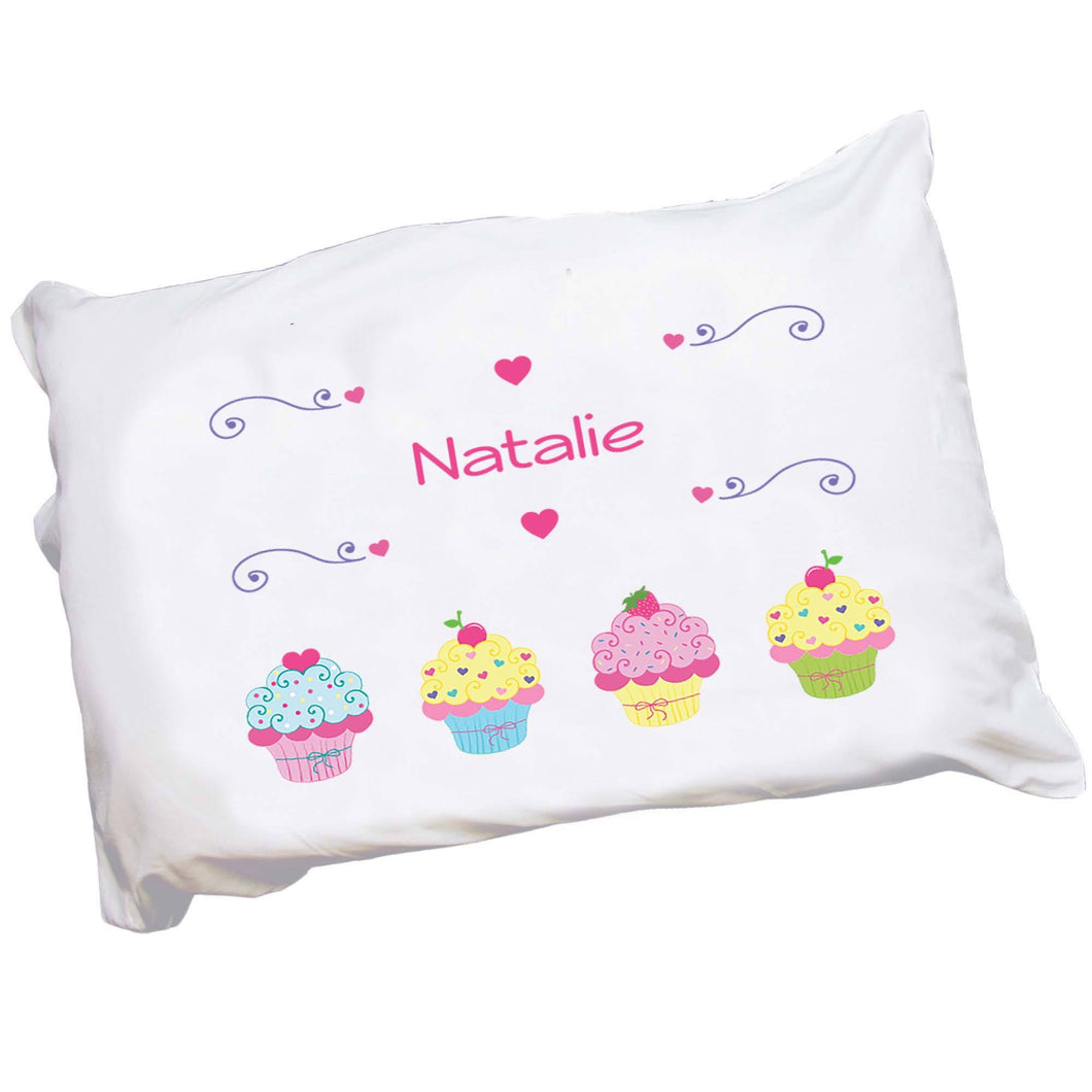 Personalized Childrens Pillowcase with Cupcake design
