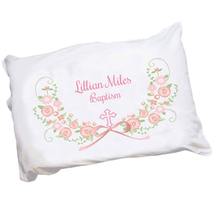 Personalized Childrens Pillowcase with Hc Blush Floral Garland design