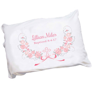 Girls Personalized pink gray cross religious Pillowcase
