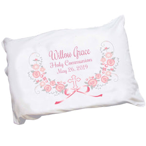 Pink Gray Floral Cross Pillowcase