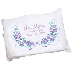 Personalized Lavender Floral Garland Pillowcase