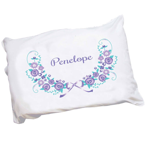 Personalized Childrens Pillowcase with Lavender Floral Garland design
