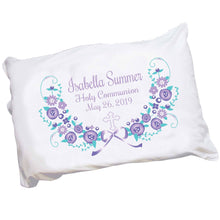 Personalized Lavender Floral Cross Pillowcase