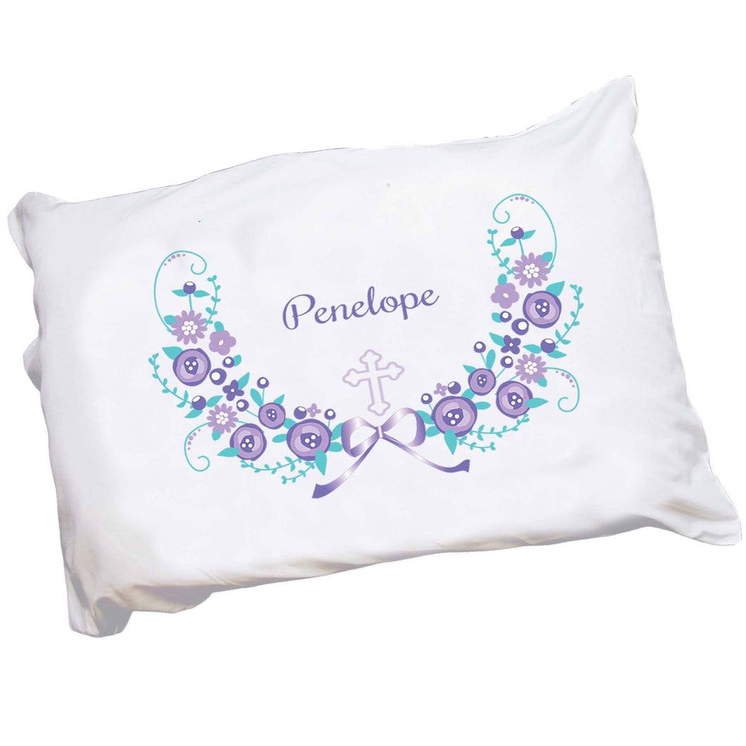 Personalized Childrens Pillowcase with Lavender Floral Garland Cross Design