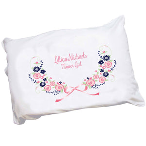 Personalized Childrens Pillowcase with Navy Pink Floral Garland design