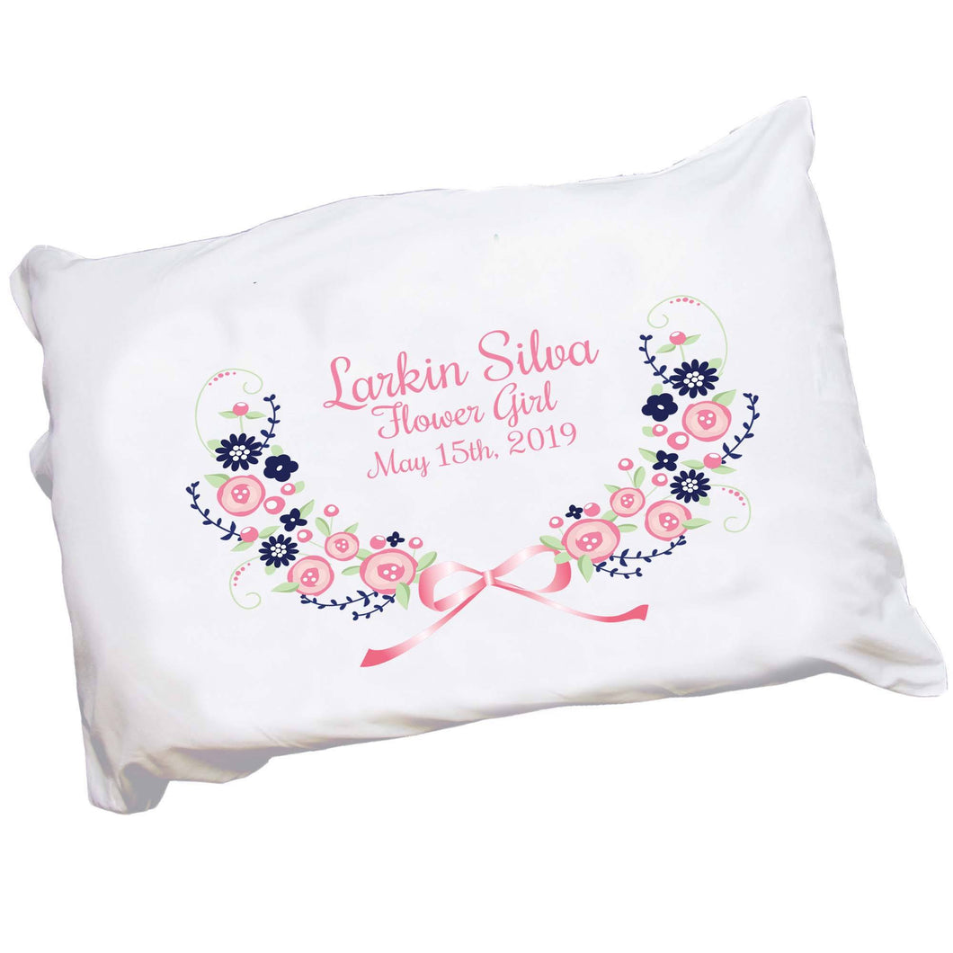 Navy Pink Floral Garland Pillowcase