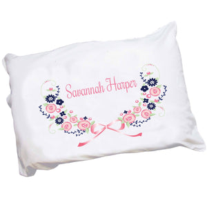 Personalized Monogrammed Pillowcase with Navy Pink Floral Garland design