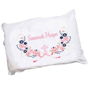 Personalized Girls Pink Navy Blue Flowers Cross Pillowcase