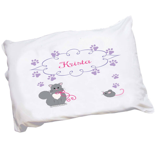 Personalized Childrens Pillowcase with Kitty Cat design
