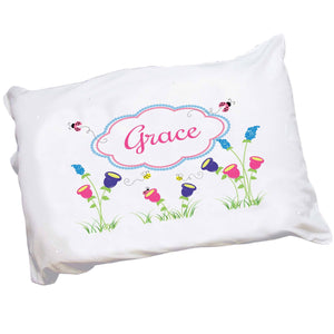 Personalized Childrens Pillowcase with English Garden design