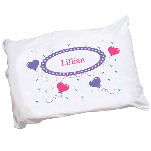 Personalized Childrens Pillowcase with Heart Balloons design