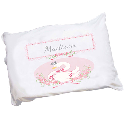 Personalized Childrens Pillowcase with Swan design