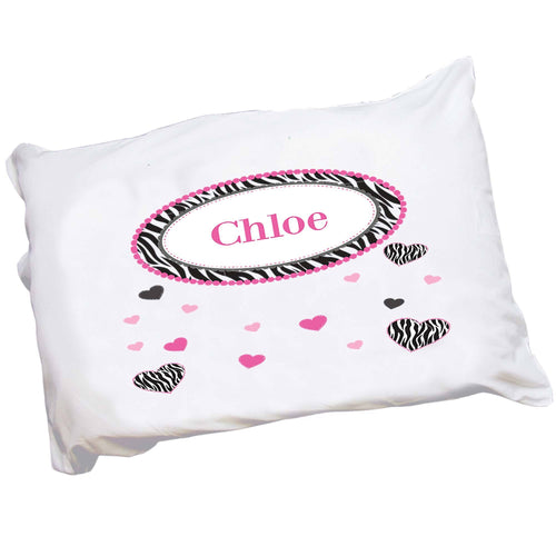 Personalized Childrens Pillowcase with Groovy Zebra design