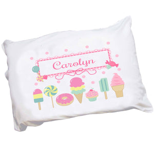 Personalized Childrens Pillowcase with Sweet Treats design