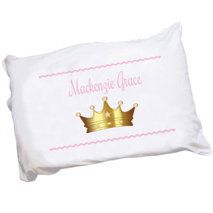 Girls Personalized Pink Princess Crown Pillowcase