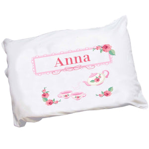 Personalized Childrens Pillowcase with Tea Party design