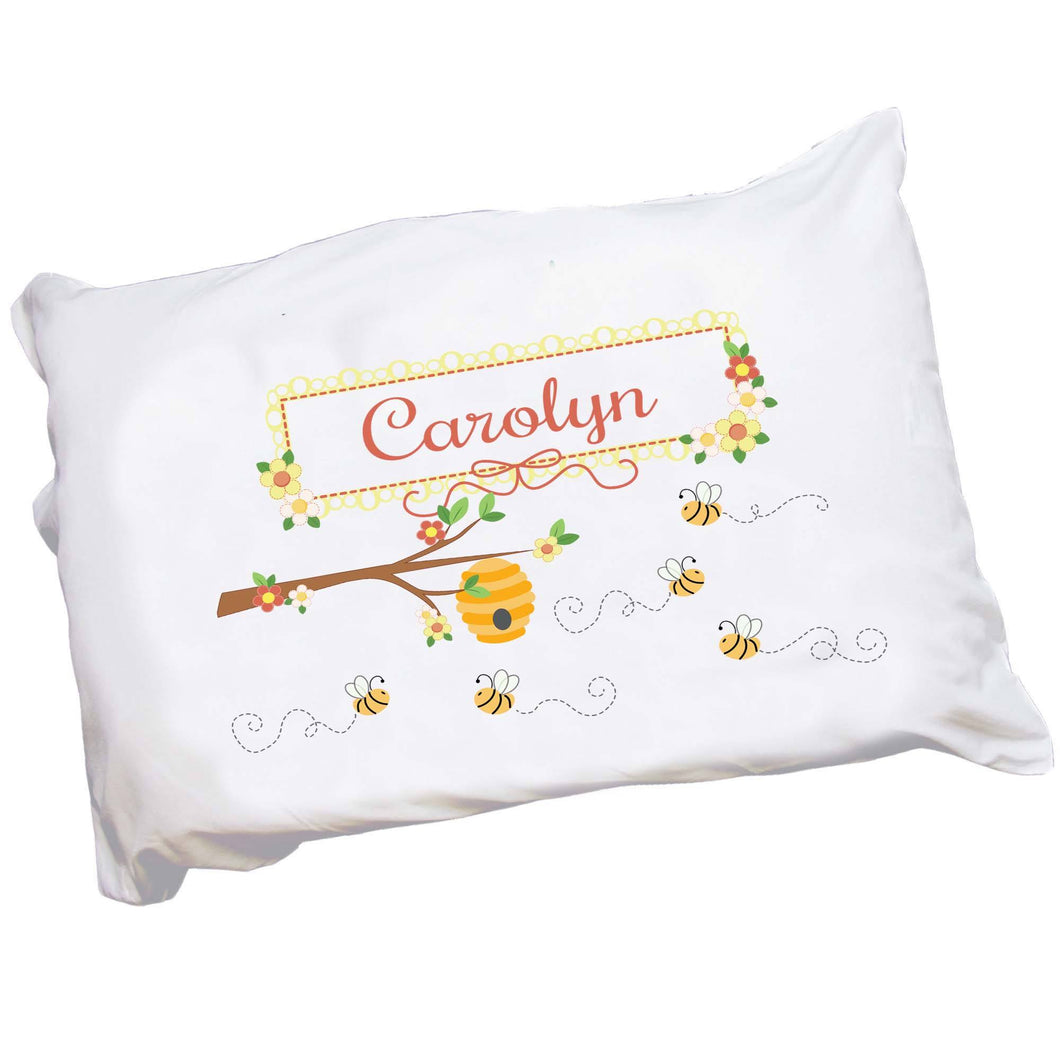 Personalized Childrens Pillowcase with Honey Bees design