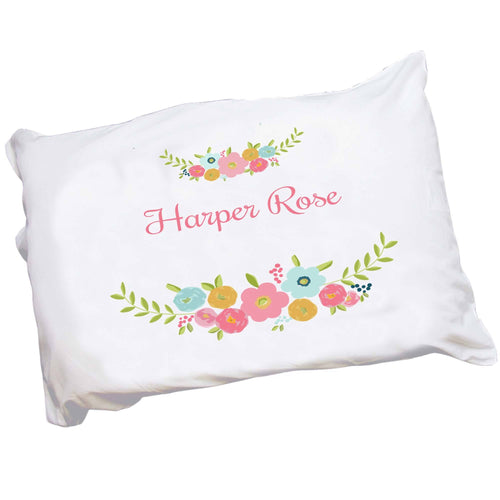 Personalized Childrens Pillowcase with Spring Floral design