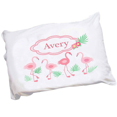 Personalized Childrens Pillowcase with Palm Flamingo design