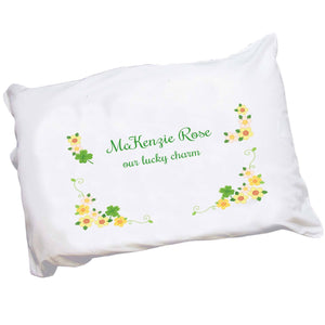 Personalized Childrens Pillowcase with Shamrock design