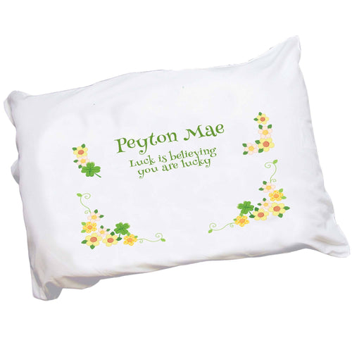 Personalized Four Leaf Clover Shamrock Pillowcase