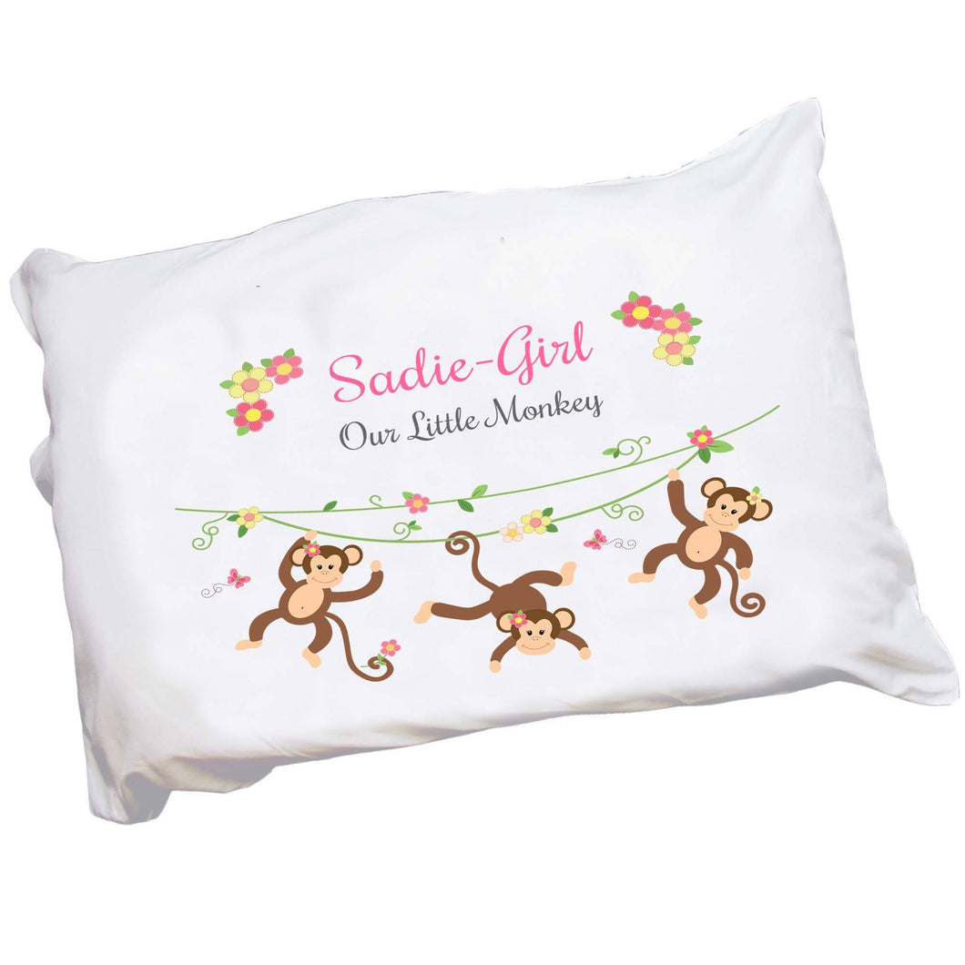 Personalized Childrens Pillowcase with Monkey Girl design