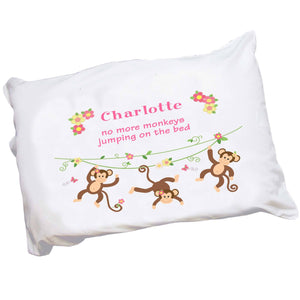 Personalized Girl's Monkey Pillowcase