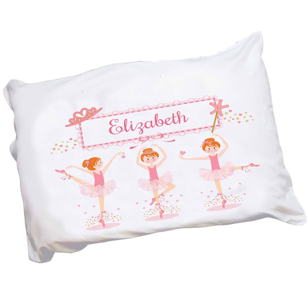 Personalized Childrens Pillowcase with Ballerina Red Hair design