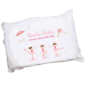Personalized Childrens Pillowcase with Ballerina Brunette design