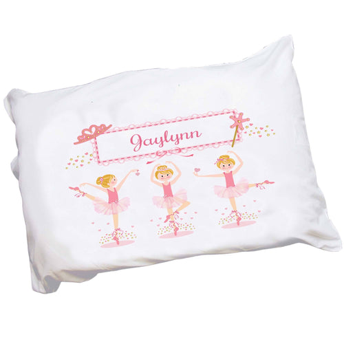 Personalized Childrens Pillowcase with Ballerina Blonde design
