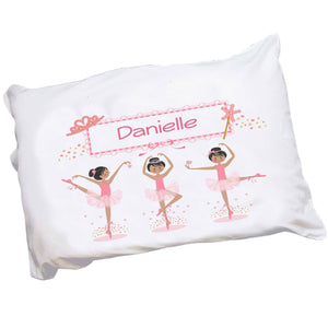 Personalized Childrens Pillowcase with Ballerina Black Hair design