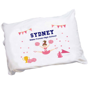 Personalized Childrens Pillowcase with Cheerleader Brunette Hair design