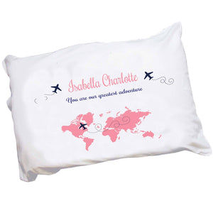 Personalized Childrens Pillowcase with World Map Pink design