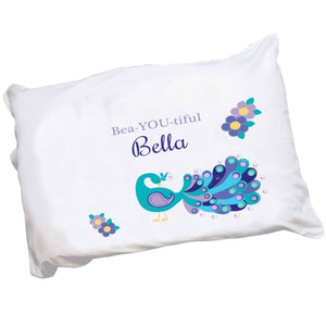 Personalized Childrens Pillowcase with Peacock design