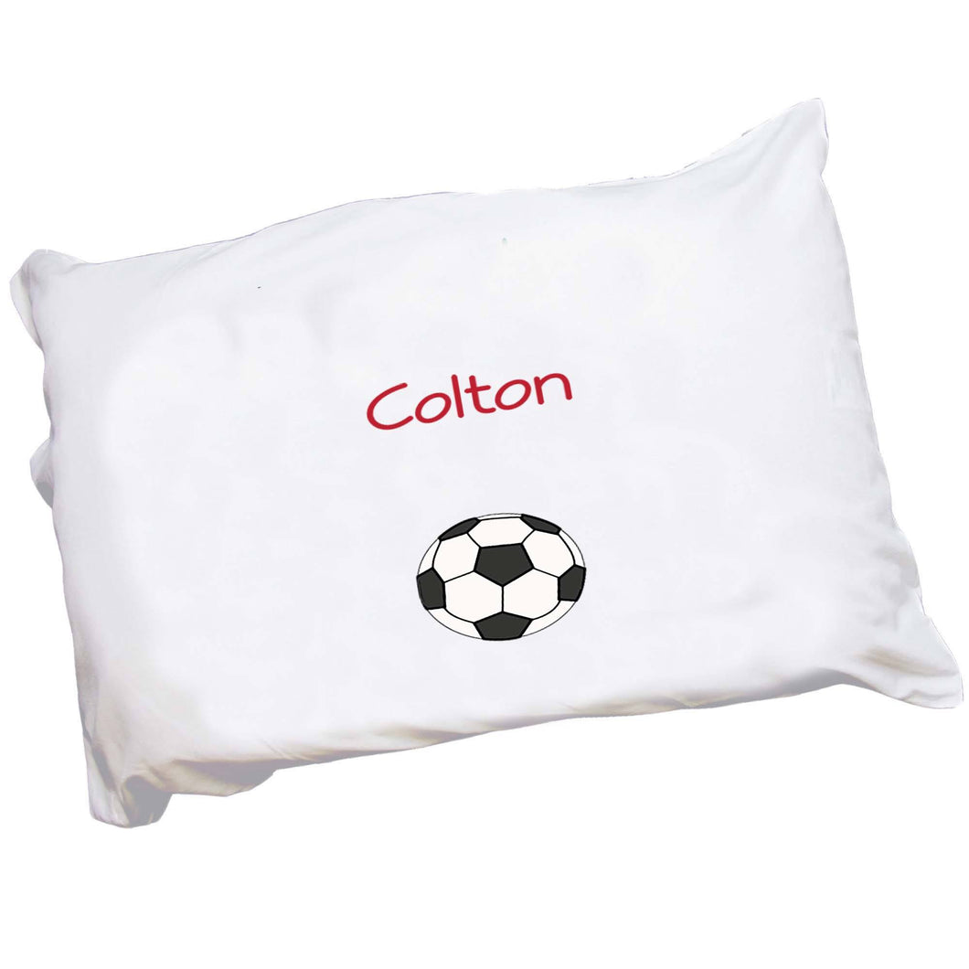 Personalized Childrens Pillowcase with Single Soccer design