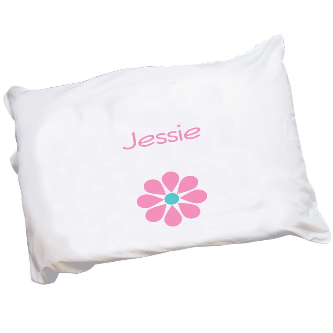 Personalized Childrens Pillowcase with Single Daisy design