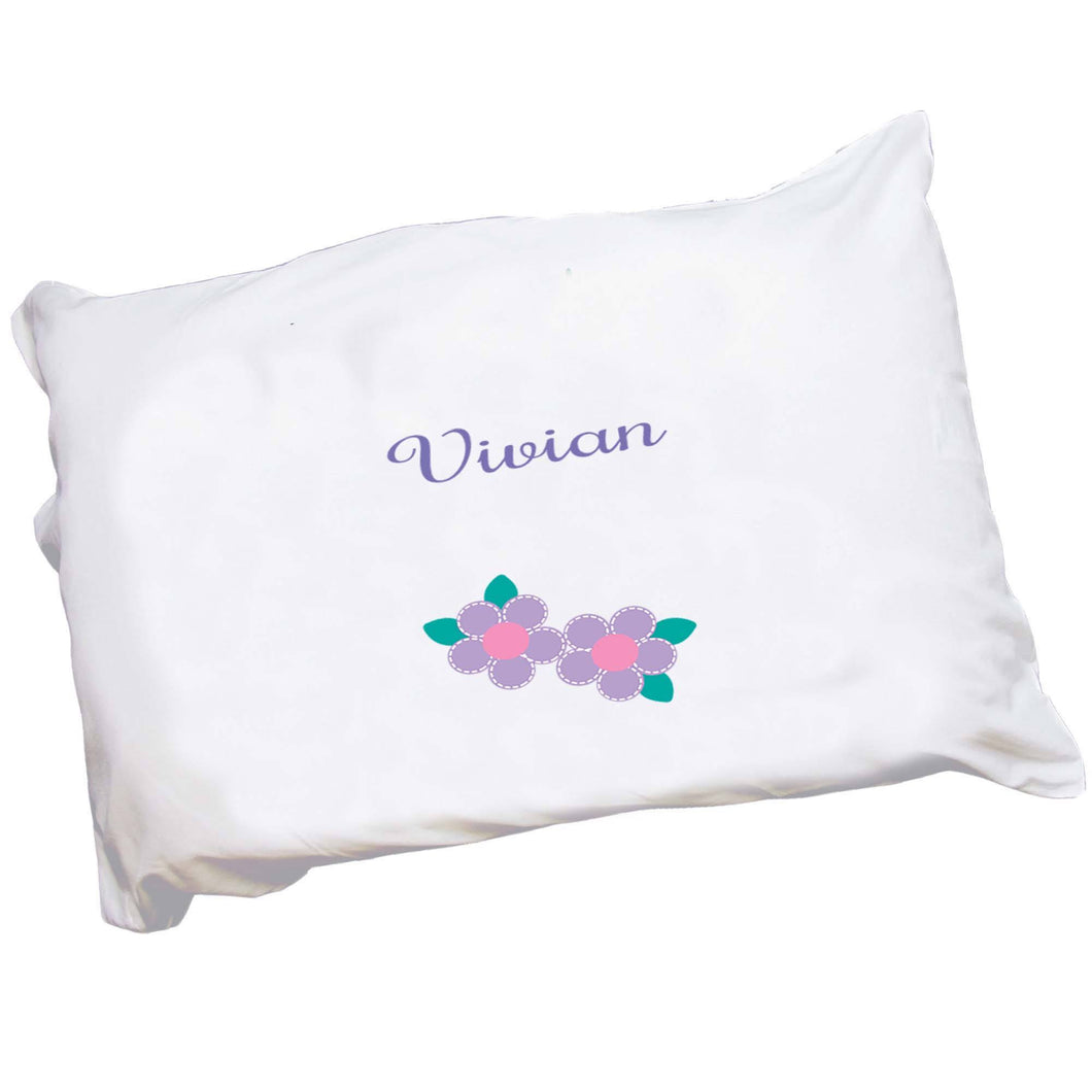 Personalized Childrens Pillowcase with Single Flower design