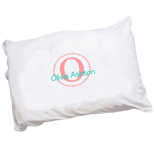 Personalized Childrens Pillowcase with Coral Circle design