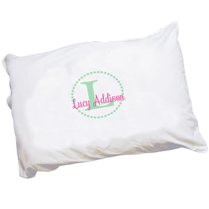 Personalized Childrens Pillowcase with Mint Circle design