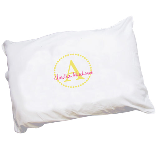 Personalized Childrens Pillowcase with Gold Circle design